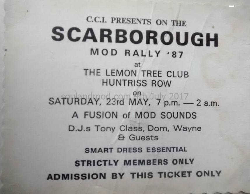 CCI Scarborough Mod Rally Ticket, 23rd May 1987