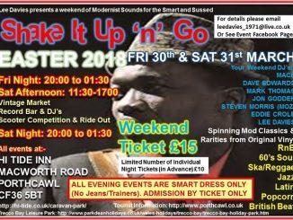 Shake It Up n Go Mod Weekender, Porthcawl, CF36 5BT DJs Mace, Dave Edwards, Mark Thomas, Jon Godden. Playing 60s R&B, 60s Soul, Latin Soul, Mod Jazz, Popcorn, British Beat, Ska & Reggae. 30/03/18