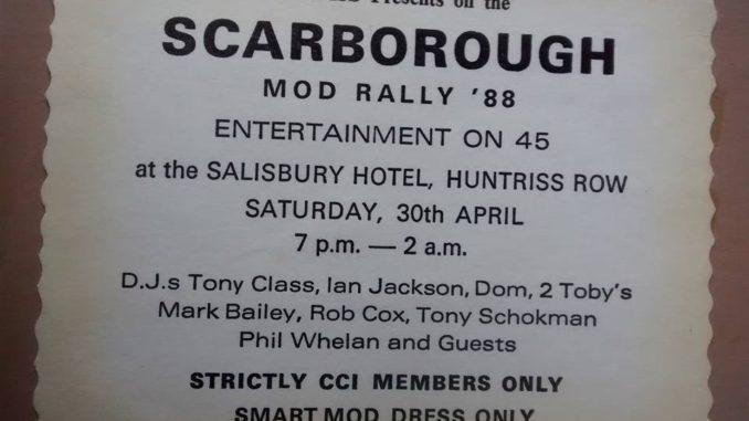 1980s Mod rallies cassette tape 2 - Scarborough CCI Mod Rally 1988 - DJs Tony Class, Ian Jackson, Rob Cox, Tony Schokman