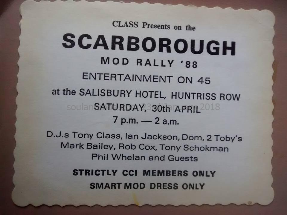 Scarborough CCI Mod Rally 1988 - DJs Tony Class, Ian Jackson, Rob Cox, Tony Schokman