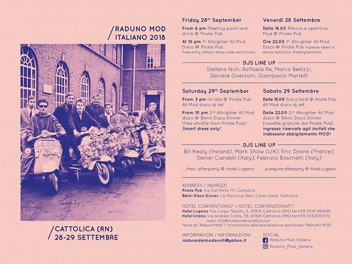 Raduno Mod Italiano 28/09/18 - 29/09/18 - Via del Porto 171, 47841 Cattolica, Italy. Playing 60s Soul, 60s & Vintage R&B, Mod Jazz & Mod Classics