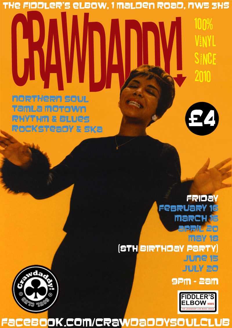 Crawdaddy! - Guest DJs Sean Davis & Davedave (Point Blanc), London, NW5 3HS - 60s R&B, Tamla Motown, Ska, Mod & Northern Soul - 20/04/2018