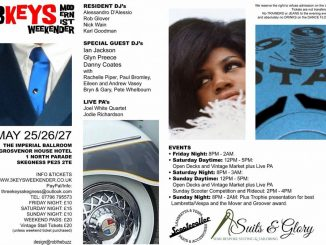 3 Keys Modernist Weekender - Skegness PE25 2TE. DJs Alessandro D'Alessio, Rob Glover, Nick Wain, Karl Goodman, Ian Jackson, Glynn Preece, Danny Coates, Rachelle Piper, Paul Bromley, Eileen & Andrew Vasey, Bryn & Gary & Pete Whelbourn. Playing 60s Soul, 60s & Vintage R&B, Latin Soul, Booglaoo, Ska & Northern Soul. 25/05/18-27/05/18