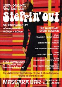 Steppin' Out - Guest DJs Lady Kamikaze & David Edwards, Mascara Bar, Stoke Newington, London N16 6XS - Northern Soul, 60s R&B, Motown, Mod Jazz & Boogaloo 14/04/18