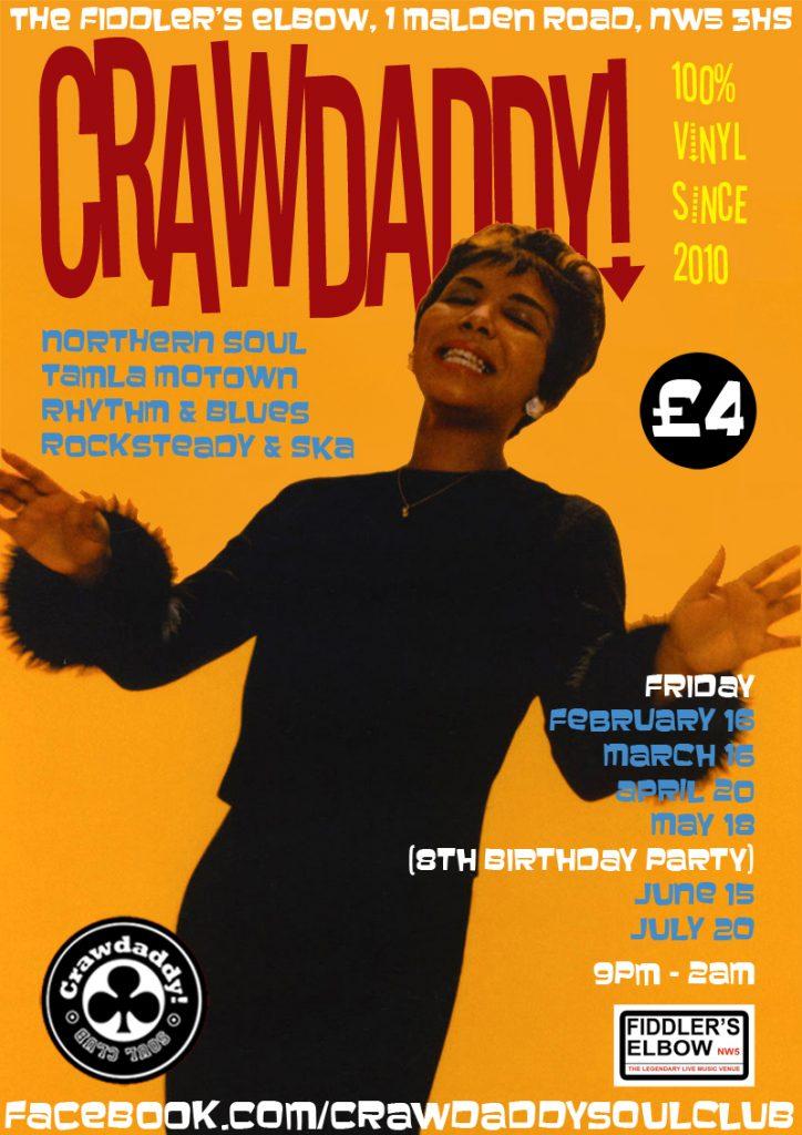 Crawdaddy! 8th Birthday Party with Guest DJ Freddie Boom Boom, London, NW5 3HS - Tamla Motown, Ska, Mod & Northern Soul - 15/05/2018