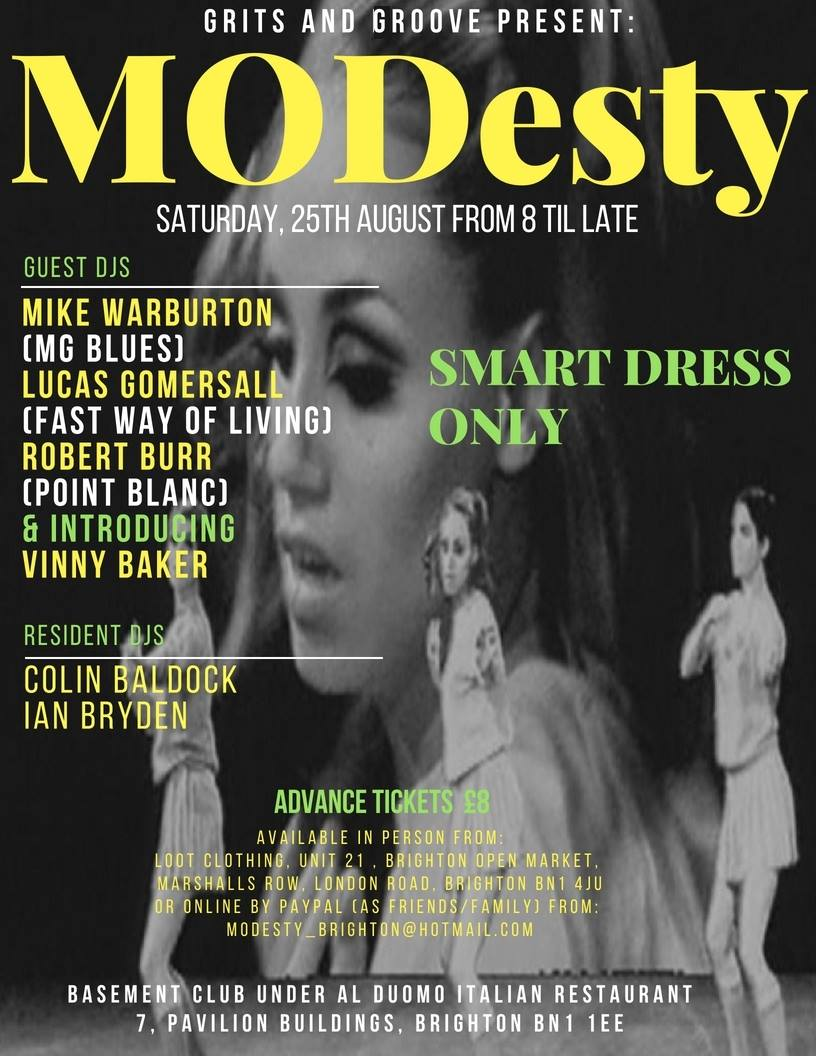 MODesty Bank Holiday Special 25/08/18 - DJs Mike Warburton, Lucas Gomersall, Rob Burr, Vinny Baker, Colin Baldock & Ian Bryden. Brighton, BN1 1EE - 60s R&B, 60s Soul, Latin Soul, Vintage R&B.