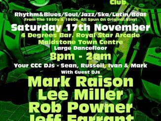 The Cookin' Catfish Club - Maidstone, Kent ME16 0SX. DJs Lee Miller, Mark Raison, Rob Powner, Jeff Farrant, Sean Cregeen, Russell Deal & Ivan. Playing vintage / 50s & 60s R&B, 60s Soul, Mod Jazz, Latin Soul, Ska & 60s Beat. 18/11/18