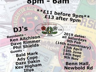 Rugby Allnighter - Rugby, CV21 2LN - DJs Ken Atkinson, Dave Rimmer, Phil Shields, Bald Mark, Ady Cope, Daz Dakin, Kev Higham, Illya, Ted Massey, Bob Morris, Tom Page, Swifty, Tezz, Trill & Mark White. Soul & Northern Soul. 10/11/18
