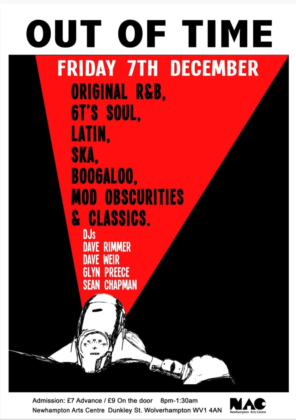 Out Of Time Christmas Party - Friday 7th December 2018. DJs Dave Rimmer, Dave Weir, Glyn Preece and Sean Chapman. Playing 60s R&B, 60s Soul, Latin Soul, Ska, Booglaoo & Mod classics