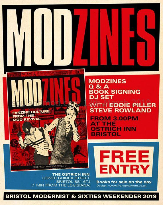 Bristol Modzines book Q & A and signing - Eddie Piller, Steve Rowland & Claire Mahoney - Bristol, BS1 6TJ - DJ Steve Rowland - Mod revival. 16/03/19