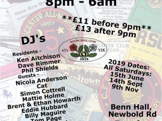 Rugby Allnighter - Rugby, CV21 2LN. DJs Ken Aitchinson, Dave Rimmer, Phil Shields, Nicola Anderson, Cat, Simon Cottrell, Mattie Holme, Brent & Ethan Howarth, Eddie Hubbard, Billy Maguire, Tom Page, Dave Raistrick, Soul Sam, Pete Shirley, Rob Smith, Tim, John Weston, Jordan Wilson Rare Soul & Northern Soul.13/04/19