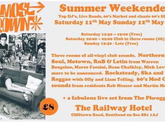 Almost Grown Southend Weekender 2019 - 11th & 12th May 2019 - DJs Rob Messer, Martin Morgan, Warren Boogaloo, Marco Faccini, Mick Love, Dean Chalkey, Olly Harvey & Liam Telling. Playing Northern Soul, Motown, 60s R&B, Latin Boogaloo, Mod, Rocksteady & Reggae. Southend-on-Sea SS1 1AJ.