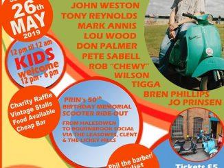 Prinfest Charity Soul & Mod Alldayer & Memorial Scooter Rideout - Dave Rimmer, DJs Hitsville Chalky, John Weston, Tony Reynolds, Mark Annis, Lou Wood, Don Palmer, Tigga, Pete Sabell, Rob Wilson, Bren Phillips, Jo Prinsen. Bournbrook And Selly Oak Social Club, Birmingham B29 6DX. Playing 60s Soul, Northern Soul, 70s Soul, Latin Soul, Gospel Soul, Mod, 60s R&B. 26/05/19