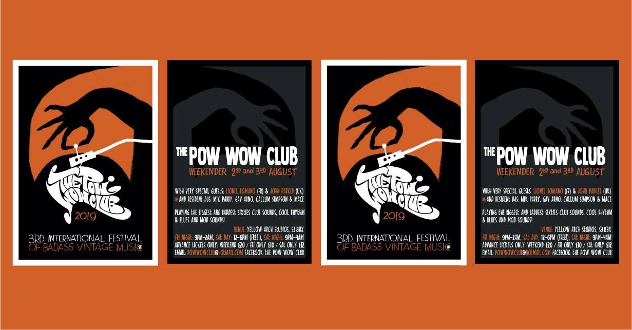 The Pow Wow Club Sheffield Weekender 2019 - DJs Mik Parry, Gav Arno, Callum Simpson, Andrew Mace Mason, Lionel Romano, John Parker. Yellow Arch Studios, 30-36 Burton Road, Sheffield S3 8BX. Playing vintage & 60s R&B, Soul, Boogaloo, Mod Jazz & Ska. 2/08/19 - 4/08/19