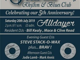 The Federal R&B Club - 5th Anniversary Alldayer - Crewe- DJs Jodie Lamb, Mark Annis, Tipper, Johnny Pezzella, Andrew Miller, Bill Kealy, Mace, Clive Read. The Mals, 7-9 Beech Street, Crewe, CW1 2PY. Playing vintage R&B, Doo-wop, Early Soul, Popcorn, Blues & Ska. 20/07/19