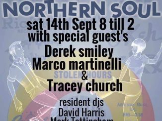 Stolen Hours Soul Club - DJs Marco Martinelli, Derek Smiley,Tracey Church, David Harris & Mark Tattingham . The Church of Christ the Cornerstone, 300 Saxon Gate, Milton Keynes MK9 2ES. Playing Northern Soul. 14/09/19