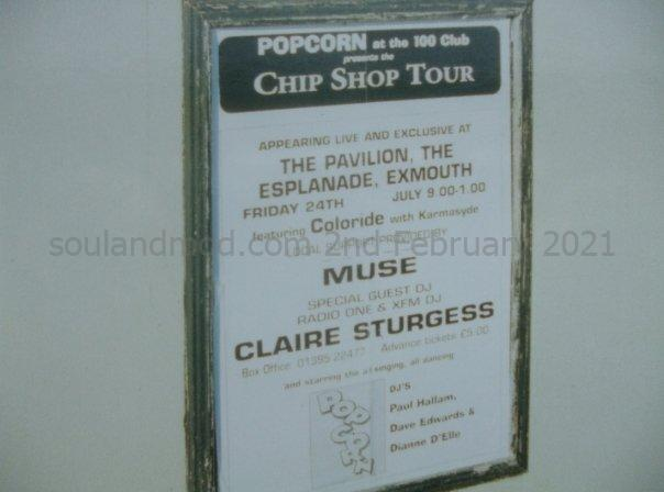Muse supporting band at Club Popcorn, Chip Shop Tour - 100 Club - Exmouth 1998 poster.