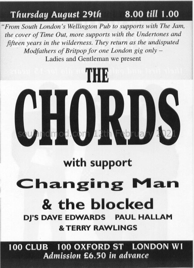 The Chords - The 100 Club - 29th August 1996 - DJs Dave Edwards, Paul Hallam & Terry Rawlings